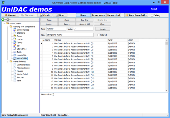 Screenshot of Universal Data Access Components (UniDAC)