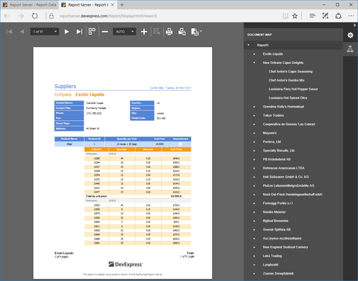 Screenshot of DevExpress Report and Dashboard Server