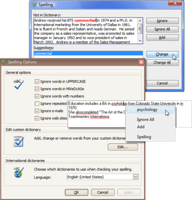 Screenshot of ExpressSpellChecker