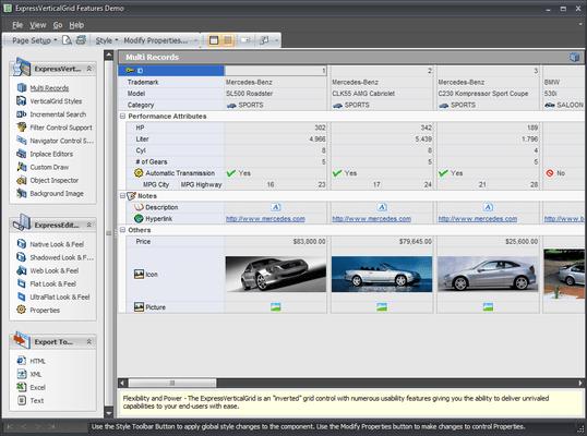 ExpressVerticalGrid (英語版) のスクリーンショット
