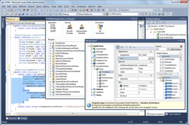 eXpressApp Framework (XAF) のスクリーンショット