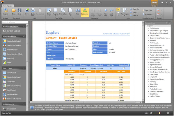 Screenshot of XtraReports Suite
