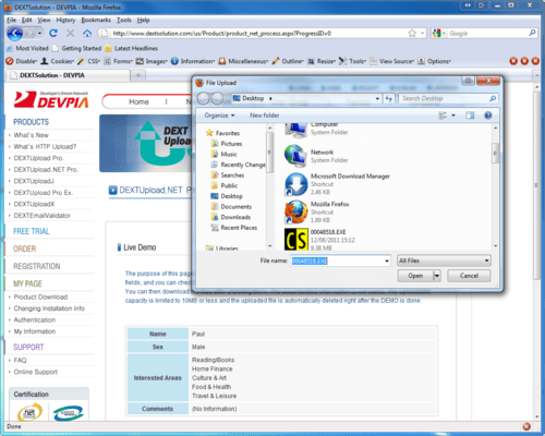 DEXTUpload .NET Pro 스크린샷
