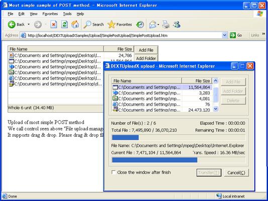 Screenshot of DEXTUploadX