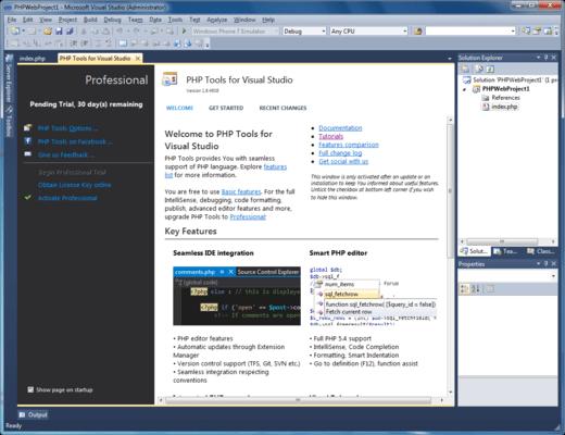 Capture d'écran de PHP Tools for Visual Studio