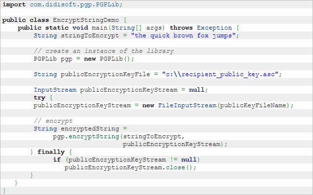 OpenPGP Library for Java (英語版) のスクリーンショット