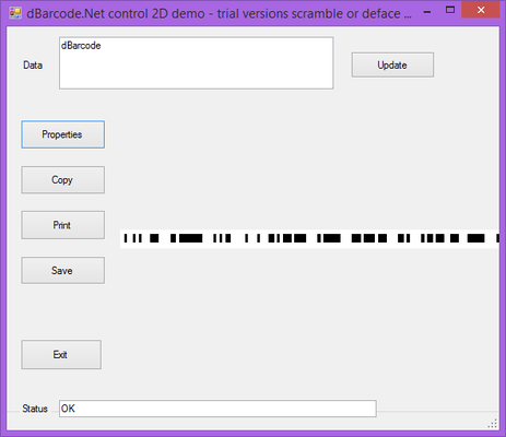 Screenshot of dBarcode.NET GS1 Databar