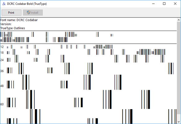 dFont Barcode Fonts for Windows - Codabar 的螢幕截圖