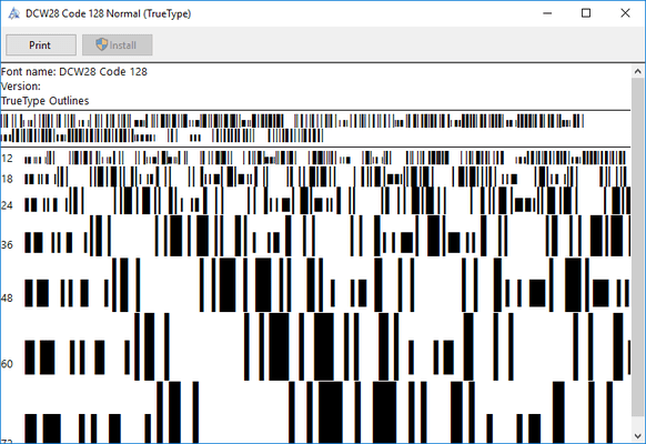 Screenshot of dFont Barcode Fonts for Windows - Code 128/EAN 128