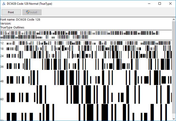 dFont Barcode Fonts for Windows - Code 128/EAN 128 的螢幕截圖