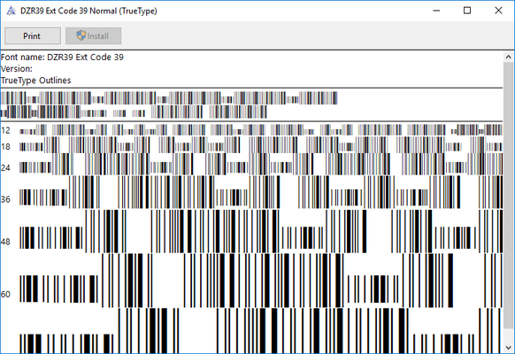 windows barcode font