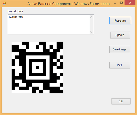 Screenshot of Active 2D Barcode Component - Aztec
