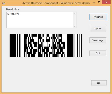 Screenshot of Active 2D Barcode Component - PDF417
