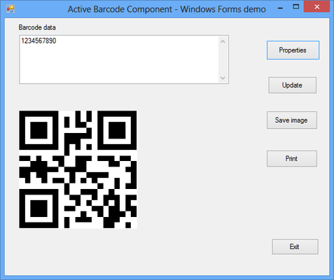 Screenshot of Active 2D Barcode Component - QR Code
