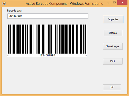 Screenshot of Active Barcode Component - GS1