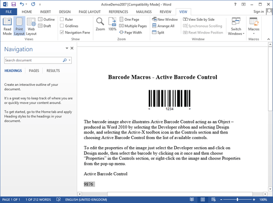 Screenshot of Barcodes & Labels for Office