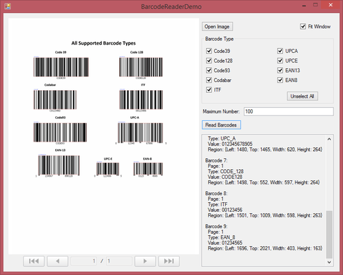 Screenshot of Dynamsoft Barcode Reader