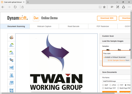 Screenshot of Dynamic Web TWAIN