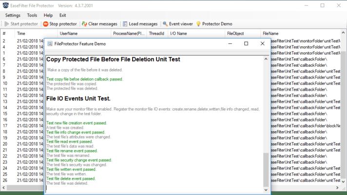 Capture d'écran de EaseFilter File System Control Filter Driver SDK