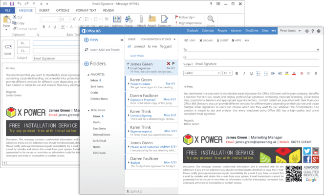 Screenshot of Exclaimer Signature Manager Office 365 Edition