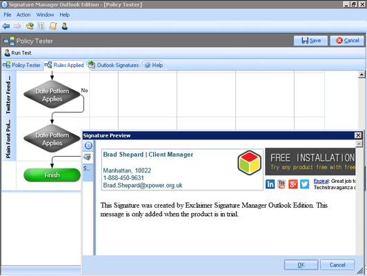 Exclaimer Signature Manager Outlook Edition のスクリーンショット