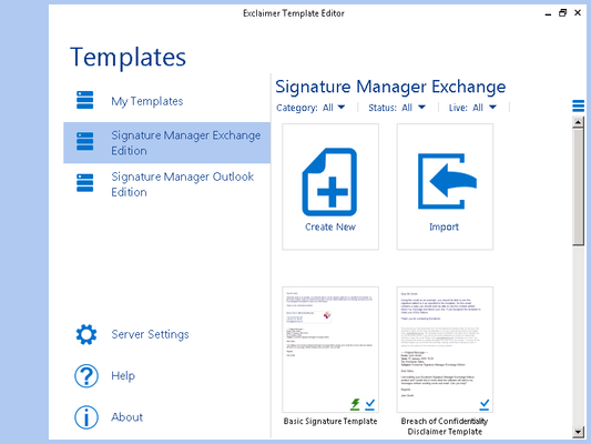 Exclaimer Template Editor について