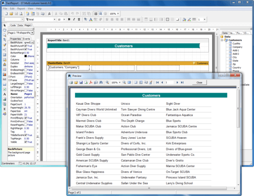 Screenshot of FastReport for COM/ActiveX