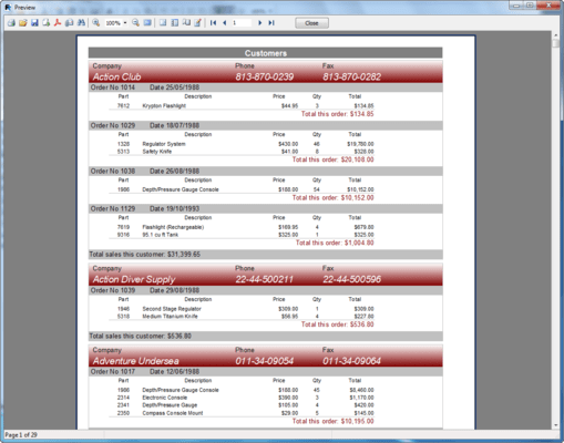 Screenshot of FastReport VCL Professional Edition