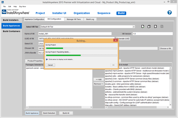 Screenshot of InstallAnywhere Premier with Virtualization and Cloud