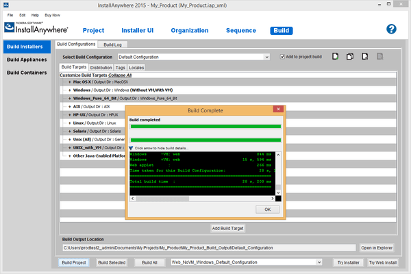 Screenshot of InstallAnywhere Professional