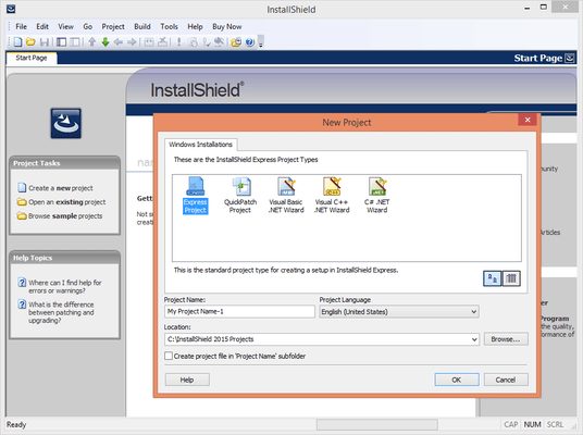 Captura de tela do InstallShield Express