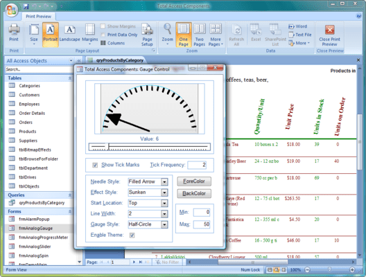 Screenshot of Total Access Components