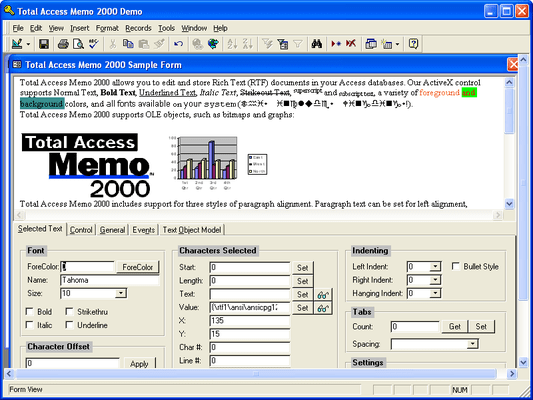 Screenshot of Total Access Memo