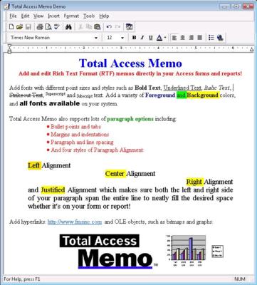 Screenshot of Total Access Memo