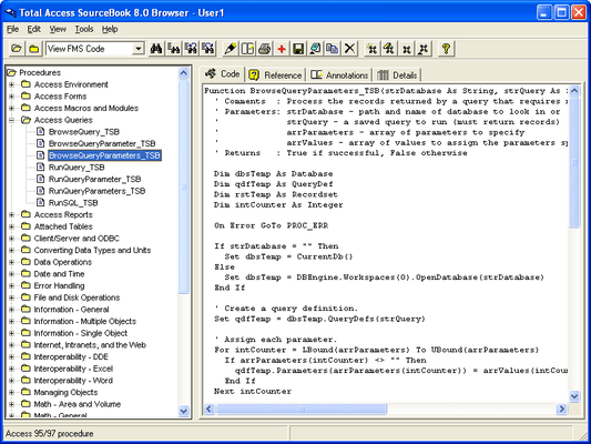 Screenshot of Total Access SourceBook