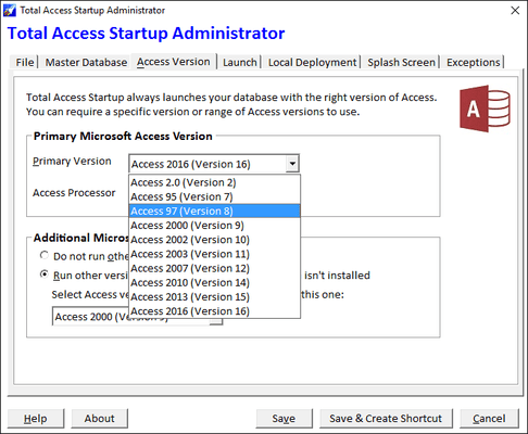 Screenshot of Total Access Startup