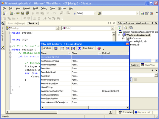 Captura de tela do Total .NET Analyzer - for Visual Studio 2002/2003
