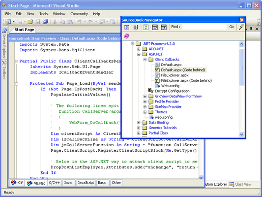 Screenshot of Total .NET SourceBook - for Visual Studio 2002/2003