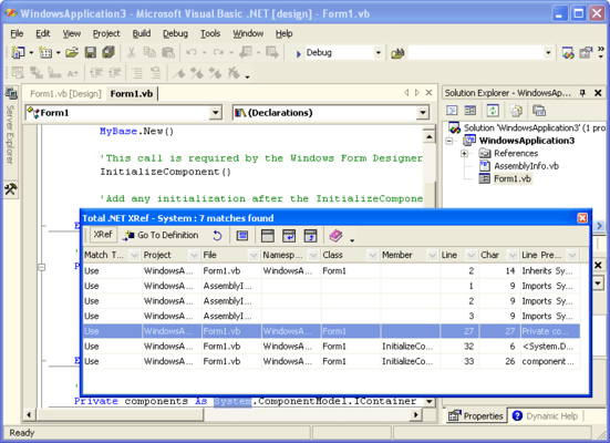 Screenshot of Total .NET Xref - for Visual Studio 2002/2003
