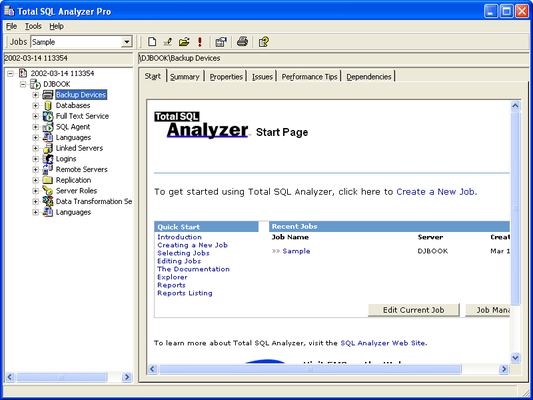 Screenshot von Total SQL Analyzer Pro - for SQL Server 7.0/2000