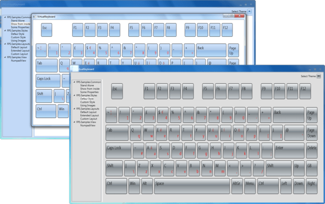MindFusion.Virtual Keyboard for WPF(英語版) のスクリーンショット