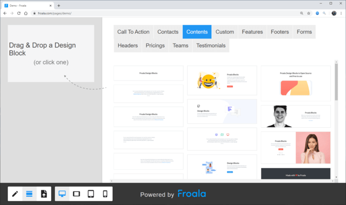 Screenshot of Froala Pages