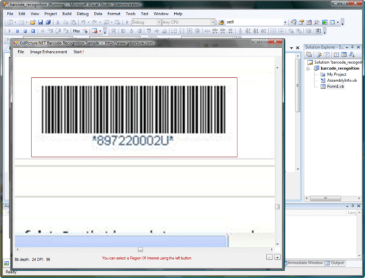 Capture d'écran de GdPicture.NET 1D Barcode Recognition Plugin