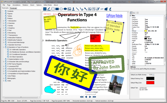 Screenshot of GdPicture.NET XMP/Annotations Plugin