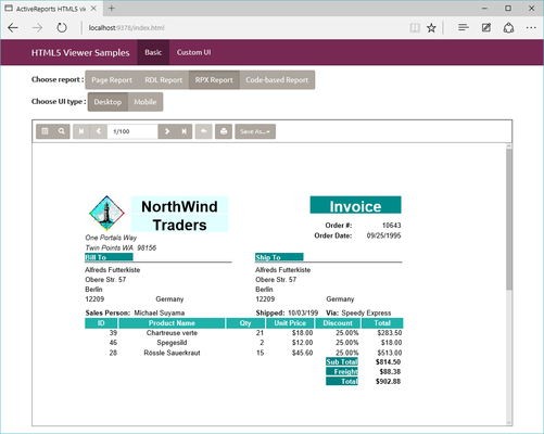 Screenshot of ActiveReports