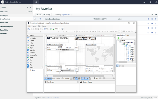 Screenshot of ActiveReports Server