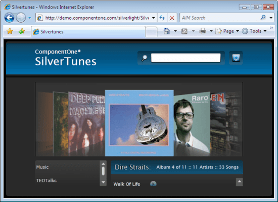 Screenshot of ComponentOne Studio Silverlight