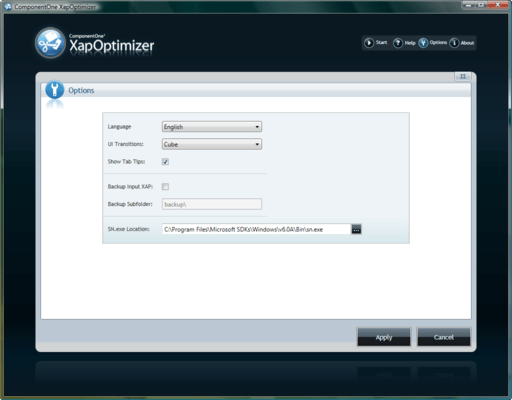 Screenshot of ComponentOne XAP Optimizer