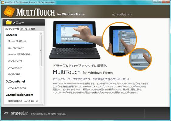 MultiTouch for Windows Forms(日本語版) のスクリーンショット