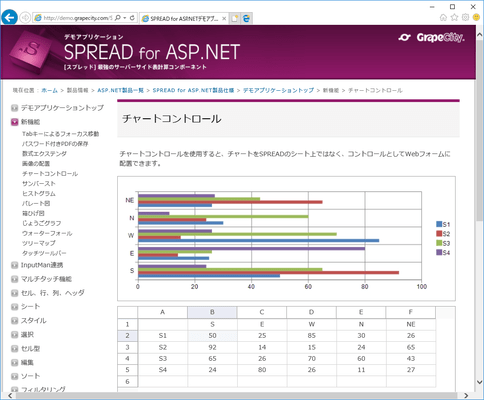 SPREAD for ASP.NET(日本語版) のスクリーンショット